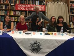 Ghosts, Bones and Dust panel—seated L to R: Jessica Chiarella, Mary Mackey, Patricia V. Davis, Mary Volmer, Cara Black. Standing: Laurie R. King
