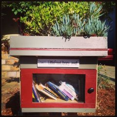 Little Free Library with succulents in Berkeley